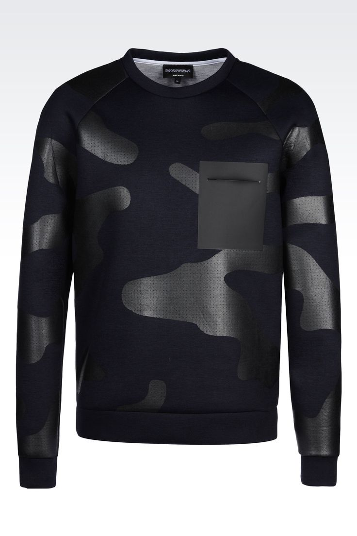 RUNWAY SWEATSHIRT IN CAMOUFLAGE NEOPRENE: Sweatshirts Men by Armani - 0