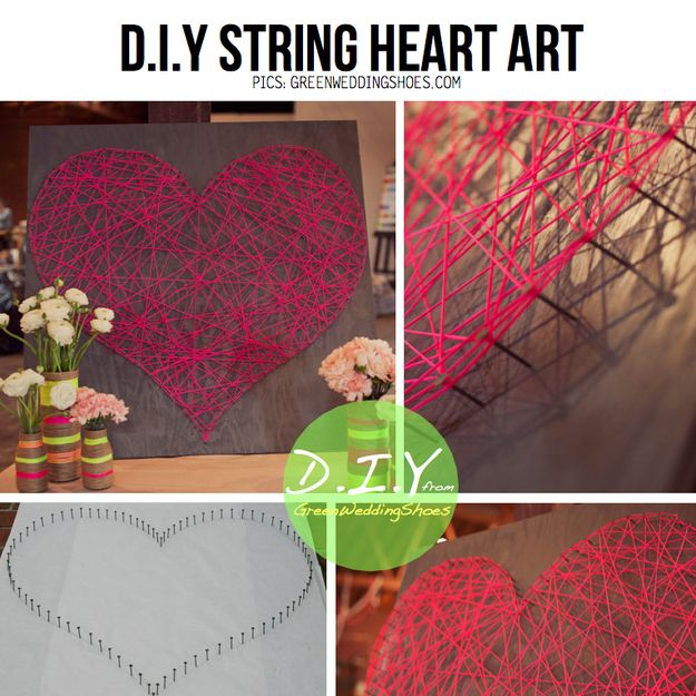 Create string art with embroidery floss or yarn. | 39 Easy DIY Ways To Create Art For Your Walls