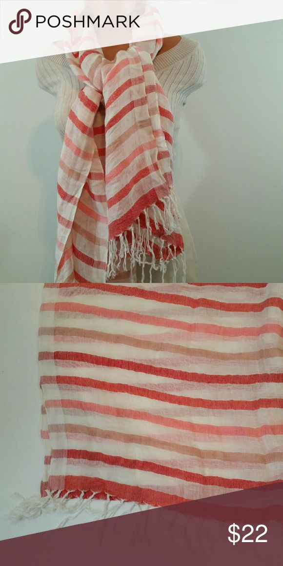 """SOLD Halogen Coral Ivory Linen Blend Scarf SOLD.   NWT New Nordstrom Halogen Linen Blend Scarf Wrap Shawl.  This Scarf has stripes of ciral hues with Ivory.   Lightweight scarf Spring Scarf -   Airy - with 4"""" Fringe Tassles Fringe.  Weight is 5 ounces.   Measures 28X 72"""".   Material is 63% Linen, and 37% Viscose. Halogen Accessories Scarves & Wraps"""