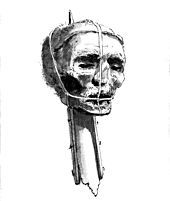 Head of Oliver Cromwell - his corpse was disinterred, hanged at Tyburn for treason and beheaded. His body was thrown into a pit and the head placed on a spike at the end of Westminster Hall, facing the spot where Charles I had been executed