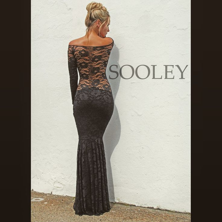 Sooley off the shoulder black lace gown