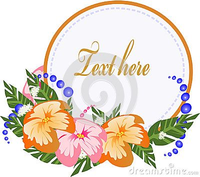 A vector illustration of a frame with copyspace and tropical flowers on the side.