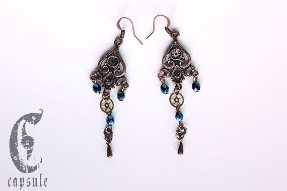 35.00$ Steampunk Victorian Copper Earrings with iridescent Blue Glass Beads and Antique Brass Watch Cogs and Gears.   https://www.etsy.com/ca/listing/214666012