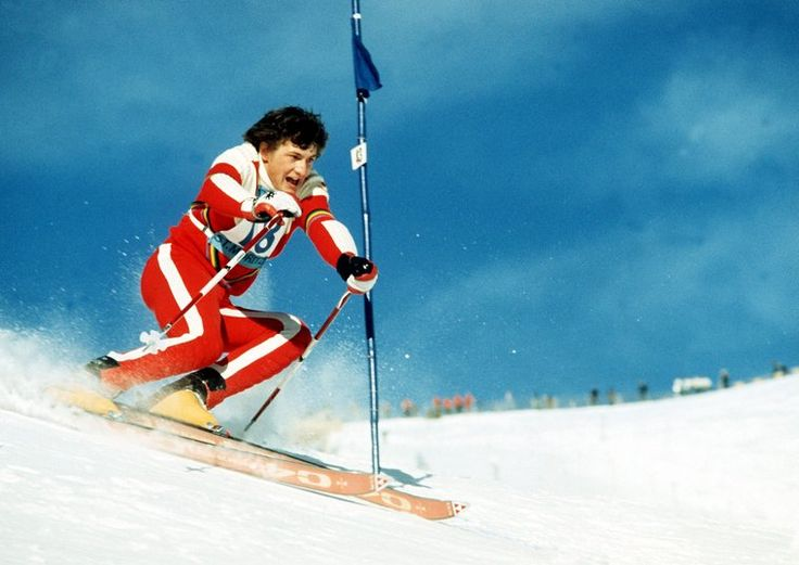 Franz Klammer skiing the Piz Nair on his way to winning the Alpine Combined event during the 1974 FIS Alpine World Ski Championships, held in St. Moritz. Klammer was the dominant alpine skier for much of the 1970s.