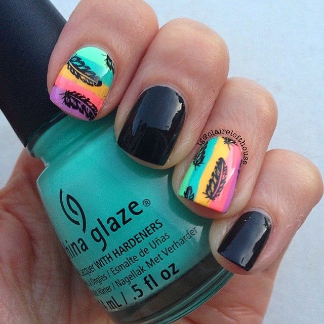 Day 22 feathers #omd2nails using @topatopa_fr TP 03 and a mix of @chinaglazeofficial sunsationals and city flourish