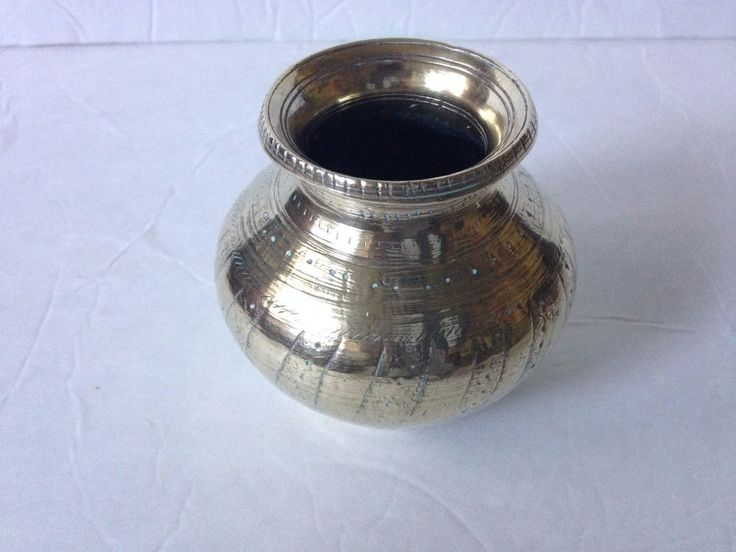 Vintage Soild Brass Vase India Decorative Antique Etched Goblet Small