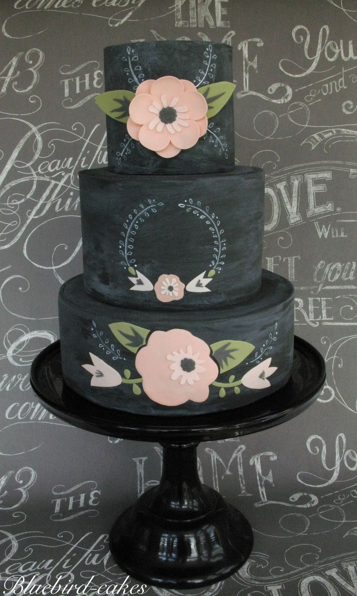 Floral chalkboard cake , love the chalkboard theme !