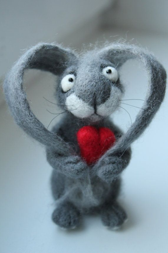 Hand Made Needle Felted Hare BE MY Valentine by AliceFelts