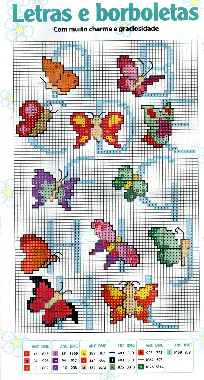Alfabeto con farfalle punto croce pinterest for Farfalle punto a croce