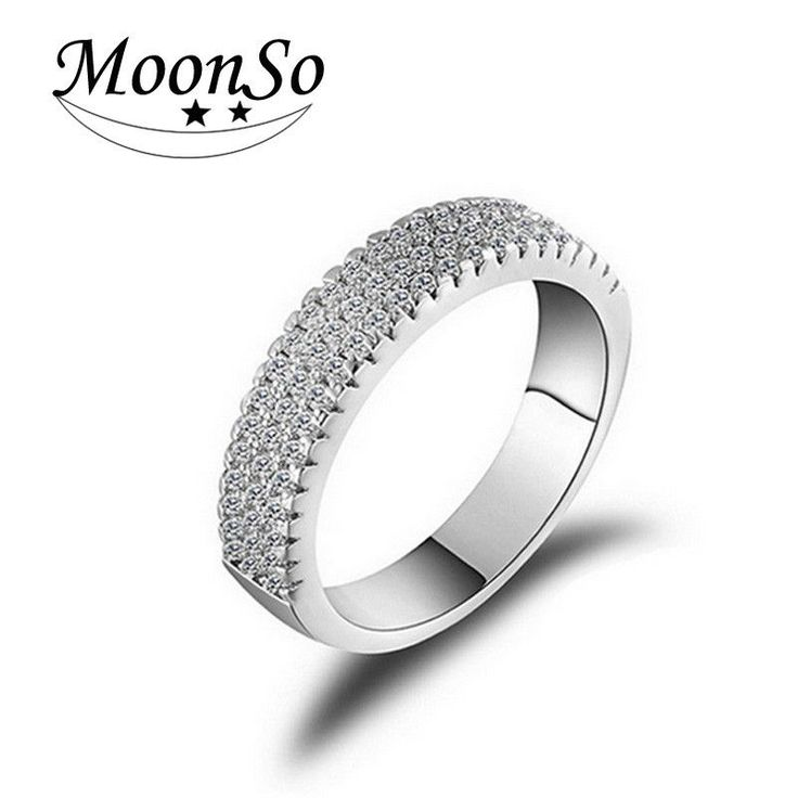 Moonso Engagement O Finger anel aneis de diamante Platinum Plated AAA zircon CZ Diamond Zircon the Rings for Women Wedding T0802