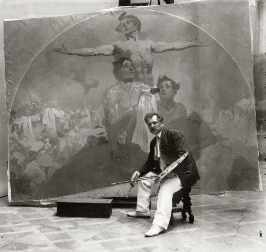 Alphonse Mucha - Self-portrait, working on a mural for the Lord Mayor's Hall, Obecní dům, Prague