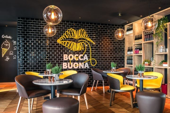 Lobby & Bocca Buona Restaurant in Park Inn Radisson Zurich Airport by A Pinch of Design, Zurich – Switzerland » Retail Design Blog