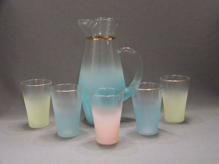Vintage Blendo Pastel colored pitcher and glasses set W Virginia glass co.