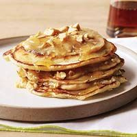 Elvis Short Stacks: bacon, butter, maple syrup, flour, baking soda, salt, low-fat yogurt, eggs, 2 bananas