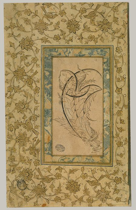 Dragon wrapped around featherlike saz leaves, Ottoman period (ca. 1299–1923), ca. 1550–70 Turkey, Istanbul Main support: ink on paper, border: gold, ink, and opaque watercolor on paper
