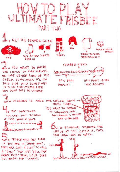"funny ""how to play ultimate frisbee"" basics. made me smile!"