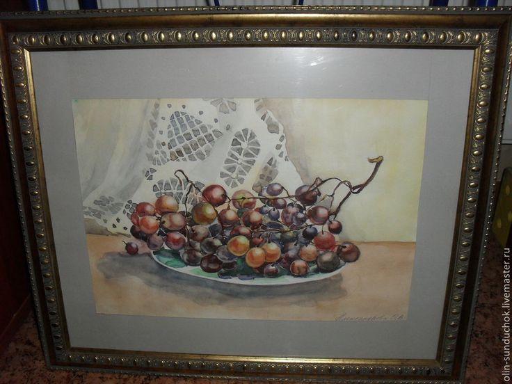 Акварель Виноградная гроздь - кремовый,виноградная гроздь,акварельная картина
