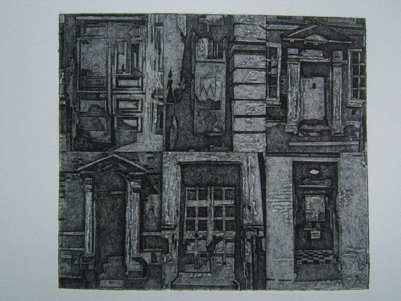 City Doors (Original Collagraph Hand Pulled Artist Print). $65.00, via Etsy.