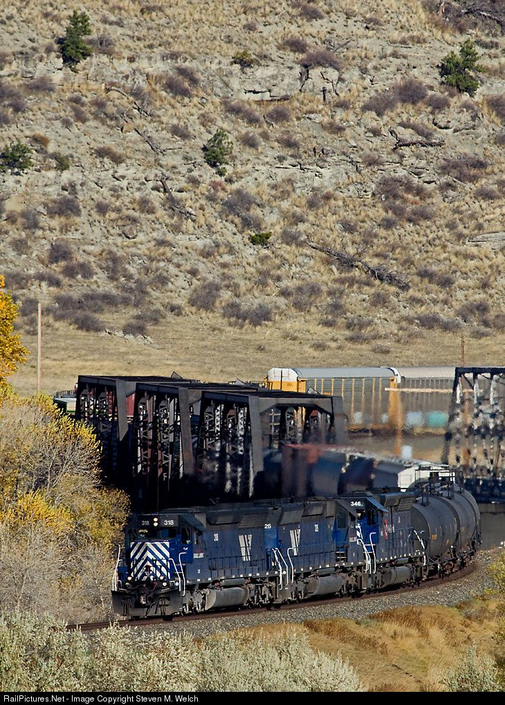 RailPictures.Net Photo: MRL 318 Montana Rail Link EMD SD45 at Reed Point, Montana by Steven M. Welch