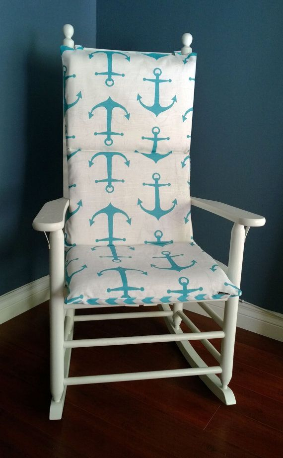 Rocking Chair Cushion Cover Blue Nautical Anchor Pink