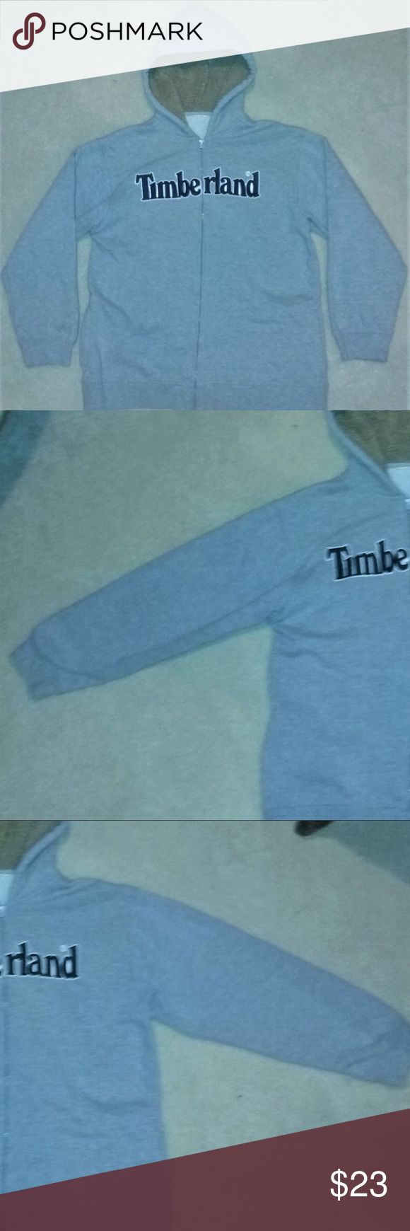 Timberland Spell Out Logo Gray Hooded Jacket Large This Timberland jacket is in great pre-owned condition! Free of stains, holes, and odors. Timberland Jackets & Coats