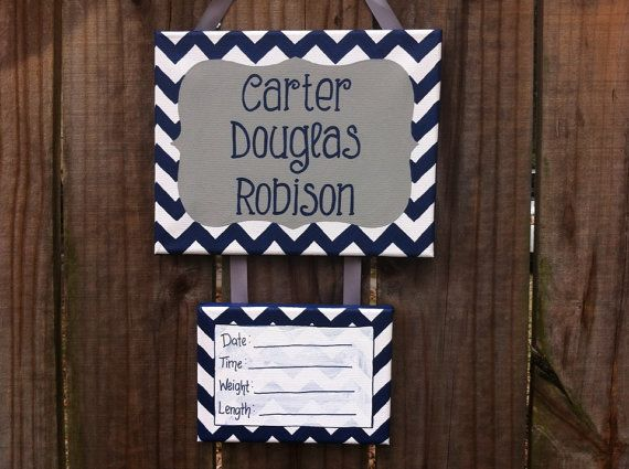 Lillou Handmade Gray and navy chevron baby boy hospital door decoration, hospital door hanger, door sign, birth announcement on Etsy, $35.00