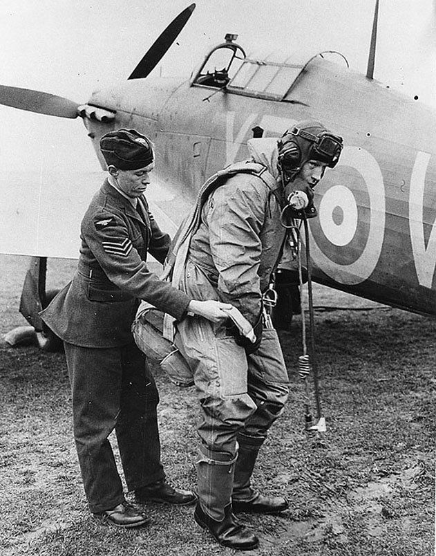 Last of the Few- page 6 | An RAF sergeant assists pilot Chesley Peterson, Eagle Squadron, in securing his parachute before entering a Hawker Hurricane. Read more: http://www.airspacemag.com/military-aviation/last-of-the-few-23175715/#elcItdCBgsOwzSVf.99