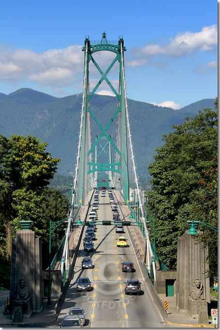 Lions Gate Bridge, viewed from Stanley Park in Vancouver BC.