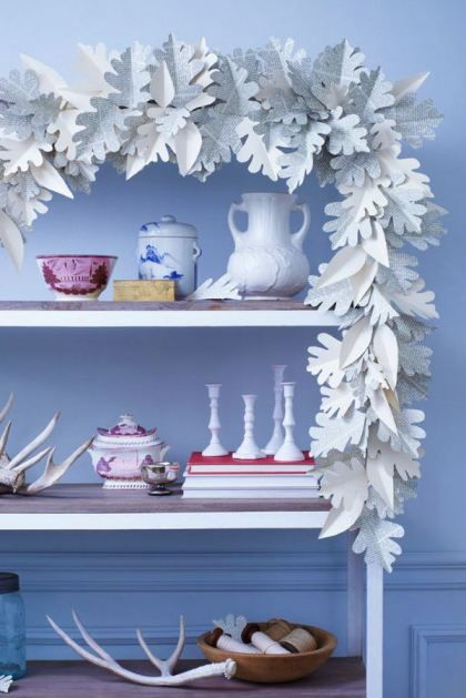 paper leaf garland- do in greens and add paper flowers or keep it  ice white for a winter wonderland
