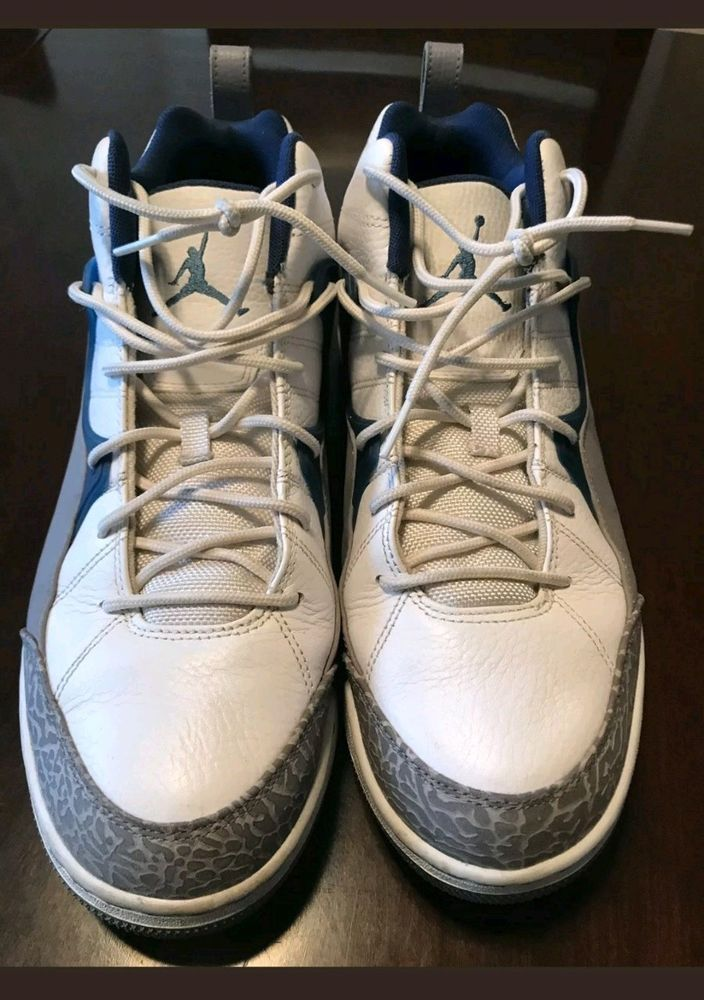 0d4f929ada358 EUC MENS NIKE AIR JORDANS SZ 12 BLUE WHITE GRAY  fashion  clothing  shoes
