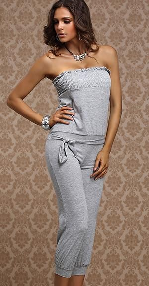 Sexy Jumpsuit 2014 New Arrive 12 Colour Womens With Belt Solid Colour Slash Neck Capris Rompers Lady Overalls