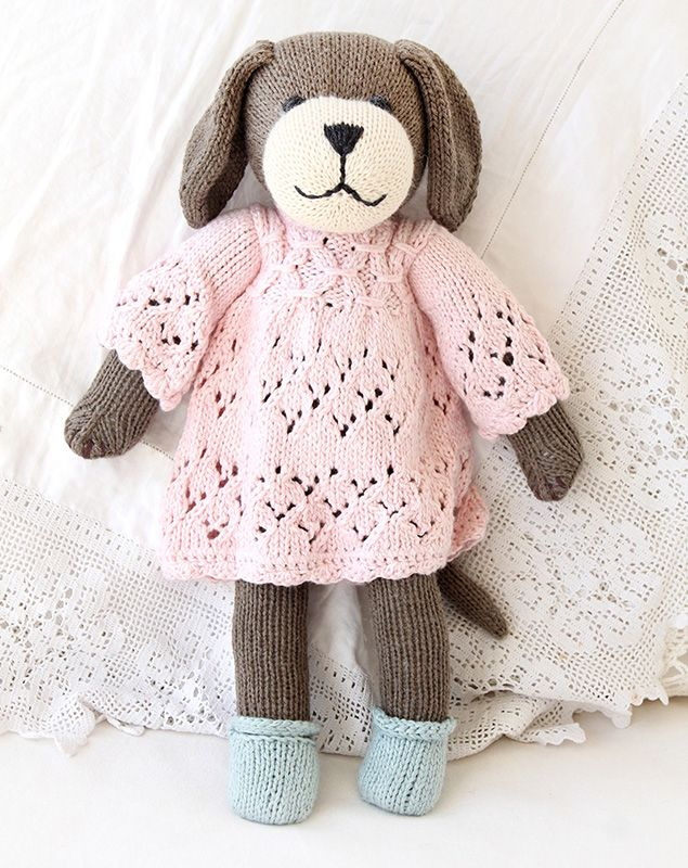 adorable doggie stuffed toy - hand-knitted and organic too!
