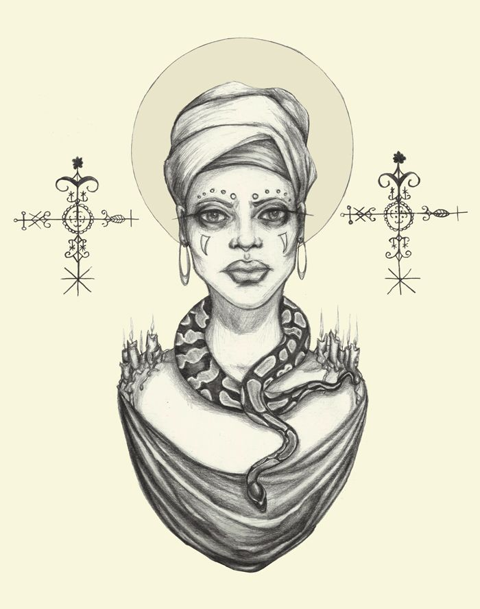 "caitlinlouiseart:  ""Priestess"" by Caitlin McCarthy Inspired by Marie Laveau and available in prints here:http://society6.com/CaitlinLouise/Priestess-Sy7_Print"
