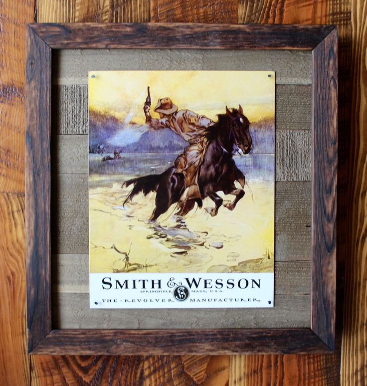 Retro Vintage Tin Sign Reproduction Reclaimed Wood Cedar Framed Rustic Shou Sugi Ban Tongue and Groove Barnwood Smith and Wesson Cowboy by ElkRidgeFrameandArt on Etsy