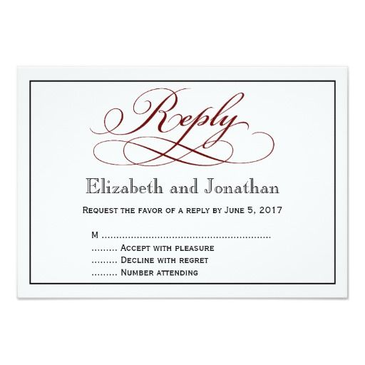 Modern Deep Red Script Wedding Reply Card
