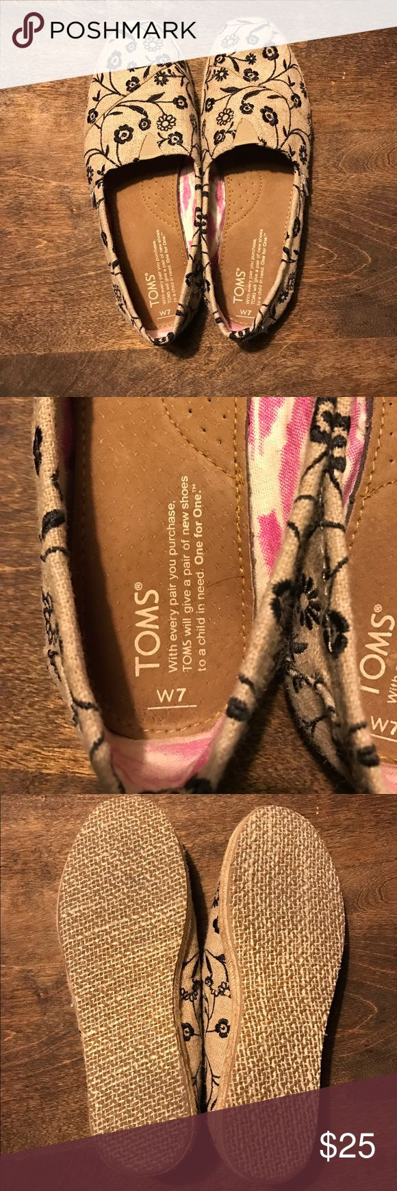 Floral & Burlap Toms Espadrilles! NWOB! NWOB Toms! Floral & Burlap! Perfect for spring! Open to all reasonable offers! TOMS Shoes Flats & Loafers