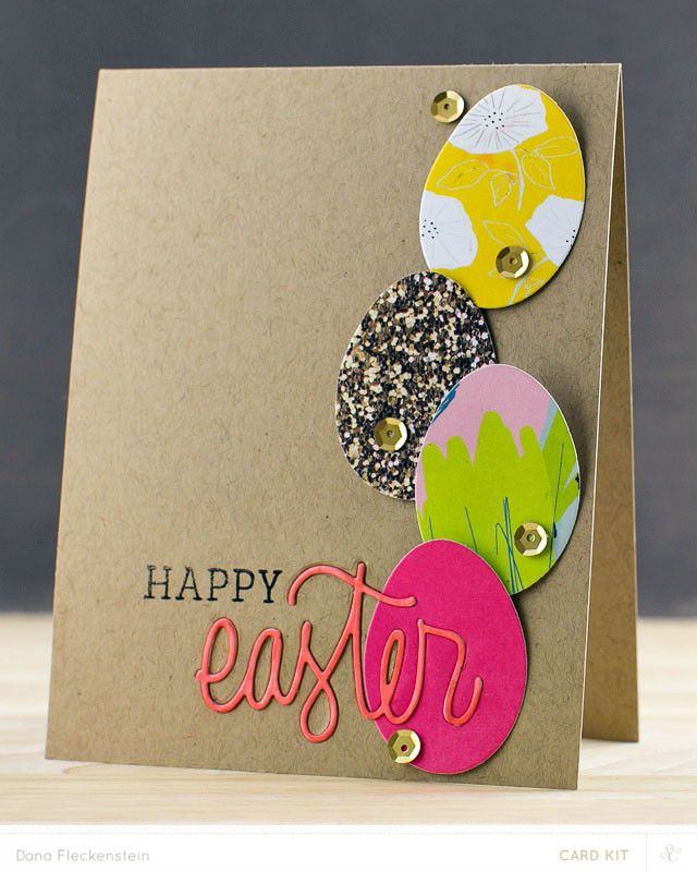 Exceptional Card Making Ideas Easter Part - 3: Simple Kraft Card Base Allows The Colorful Eggs To Take Center Stage On  This Handmade Easter