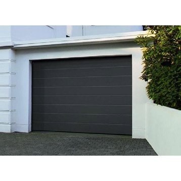 Porte de garage sectionnelle acier gris titane artens 200 x 237 cm leroy merlin all e - Porte de garage sectionnelle gris anthracite ...