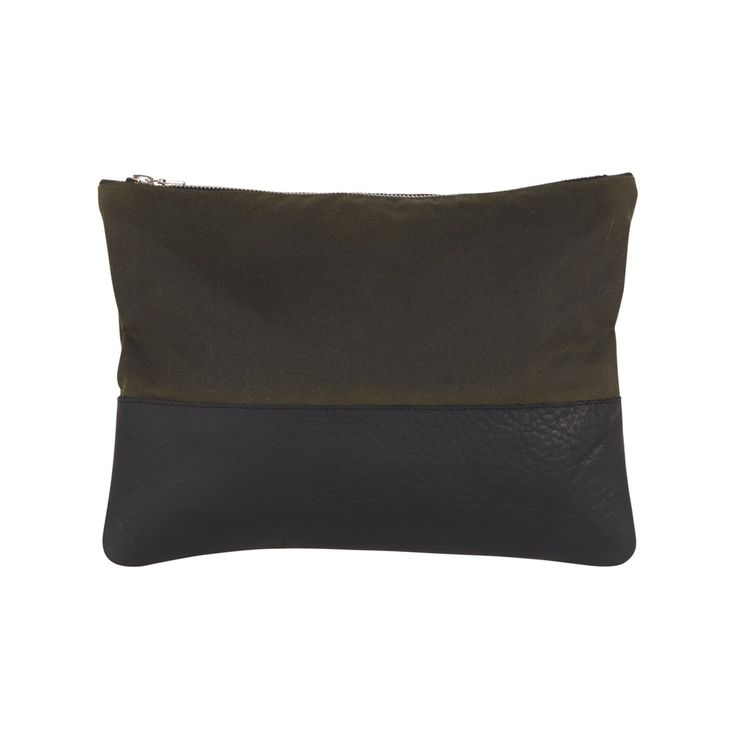 Sarah Baily | Murray Man Pouch - Black leather / waxed cotton