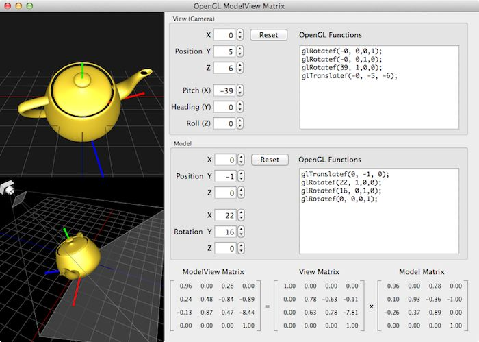Example of OpenGL ModelView Matrix