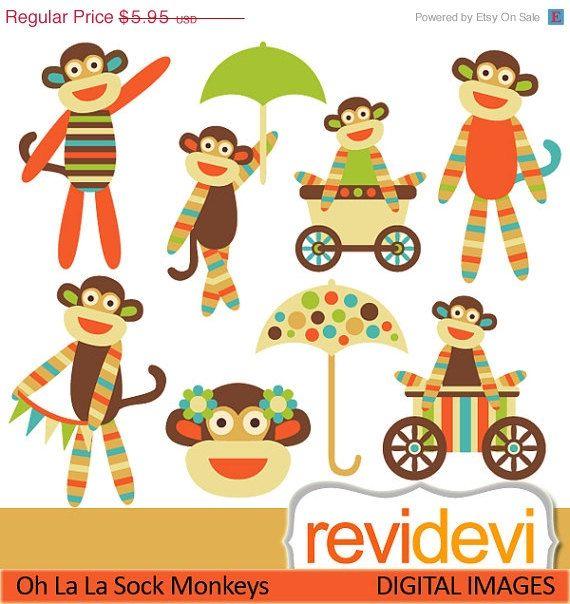 55 OFF Oh La La Sock Monkeys Cliparts 07423 by revidevi on Etsy