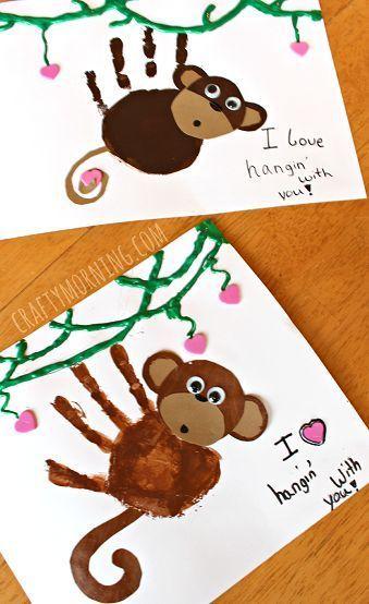 Super cute monkey hand art preschool craft - perfect for valentines day
