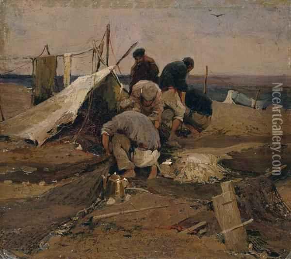"""Колесников Иван Федорович (1887-1929) """"Рыболовецкая артель""""."""
