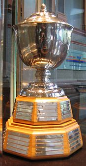 The Norris Trophy,awarded to the NHL's best defensemen every year. Named after James E. Norris,owner of the Detroit Red Wings from 1932-1952.