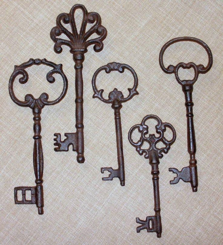 NEW~Set of 5 Ornate Cast Iron Rust Skeleton Keys Wall Decor Victorian   Home & Garden, Home Décor, Wall Sculptures   eBay!