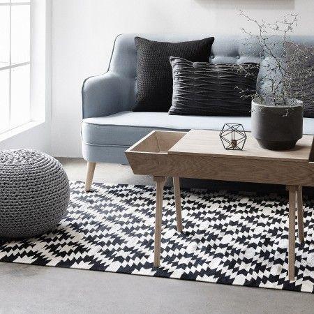 Design Vintage | Black Geometric Runner | Geometric Rug | Rag Rug