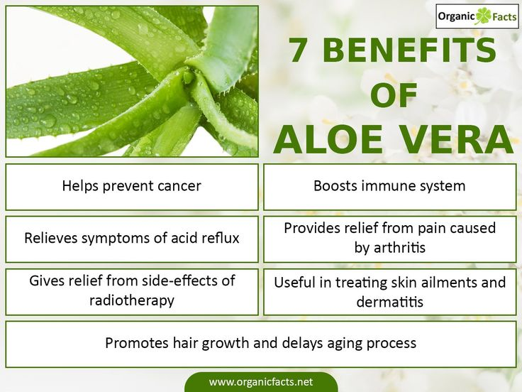 The health benefits of aloe vera are numerous, starting from improving the digestive system to preserving food; it serves you an optimum health in long run. Aloe vera strengthens the immune system, delays aging process, cures dermatitis, menstrual problems, arthritis pain, wounds, nausea, ulcer, lowers blood sugar levels, prevents diabetes, oxidative stress, cancerous growths, heal the side effects of radiotherapy treatments, promote hair growth, and sooth acid reflux symptoms.Ana Lise
