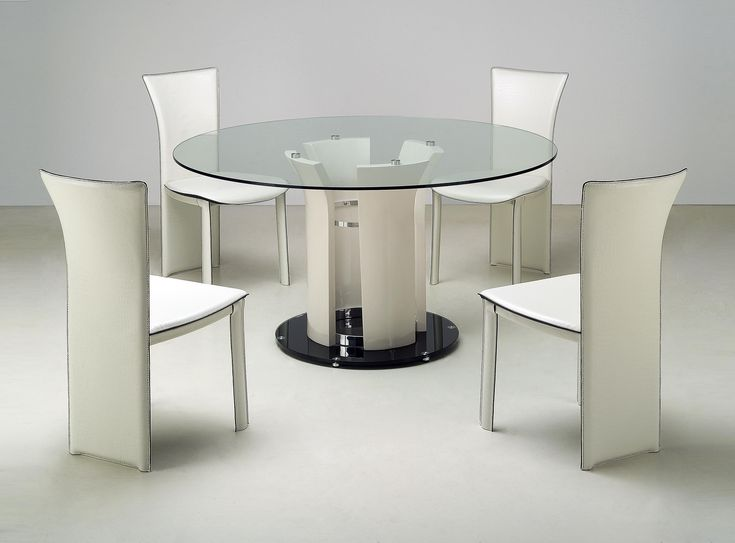 Chintaly Deborah 5 Piece Round Glass Top Dining Table Set