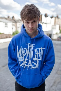 ASHLEY HORNE IN A BLUE THE MIDNIGHT BEAST HOODIE!