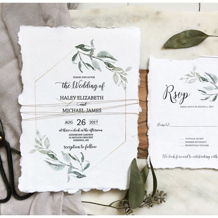 handmade wedding cards ireland%0A Modern Greenery  Handmade Paper Wedding Invitation